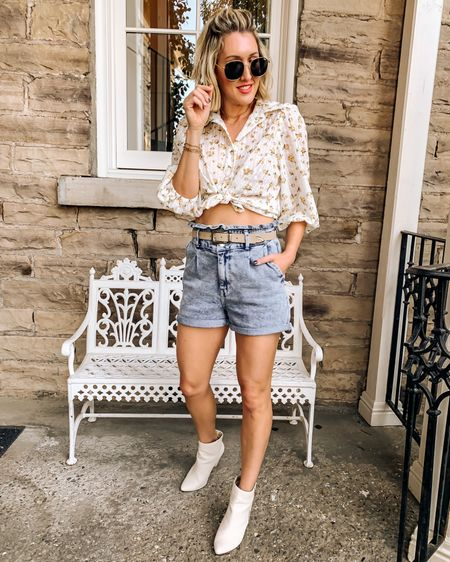 High waisted paperbag shorts, denim shorts, white boots, casual outfit, top is from a boutique http://liketk.it/3hDTE #liketkit @liketoknow.it #LTKunder100 #LTKstyletip #LTKshoecrush