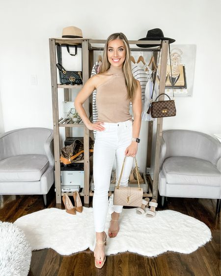 4️⃣ WAYS TO STYLE WHITE JEANS THIS SUMMER ☀️// LOOK 4: NIGHT OUT One of my favorite tops this season - the one shoulder knit top is the perfect color and shows just the right amount of skin for a sexy night out! Grab a pair of clear strap heels to lengthen the leg and elevate the look. http://liketk.it/3h6Sh  #liketkit @liketoknow.it