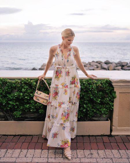 Floral flowy maxi dress, beaded floral handbag, straw flats