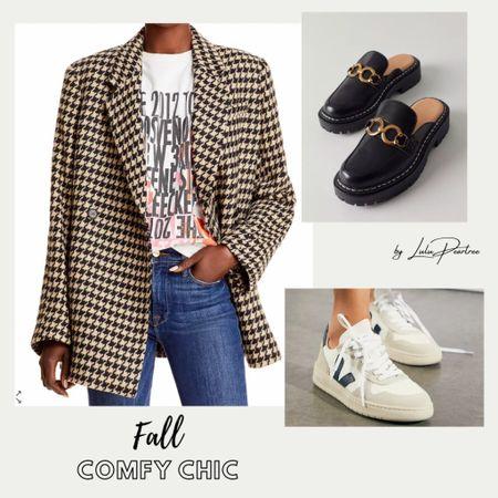 Love fall versatility outfits… From casual office look to fall weekend brunch to comfy travel outfit. What's your occasion?   #falloutfits #falloutfit #brunchoutfit #businesscasual #casualoutfit #cooloutfit #coolmomoutfit #falloutfitinspo #blazers #veja #mules #clocks #LTKfall #LTKtravel   #LTKstyletip #LTKSeasonal #LTKshoecrush