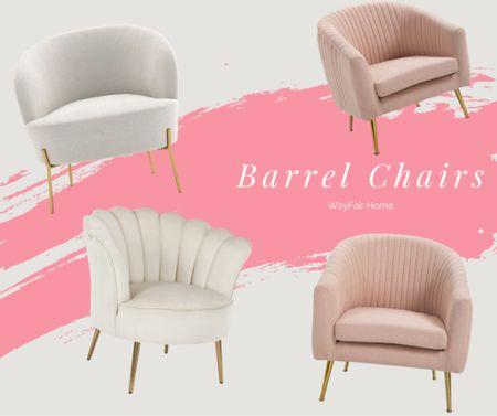 Barrel chair Velvet seat Wayfair Office share Glam home decor Velvet chair Pink    #LTKunder100 #LTKbacktoschool #LTKhome