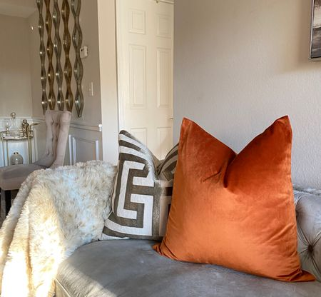 Beautiful velvet pillow covers! This color is beautiful for fall. Available in different colors and sizes. 🧡  #LTKhome #LTKstyletip #LTKfamily