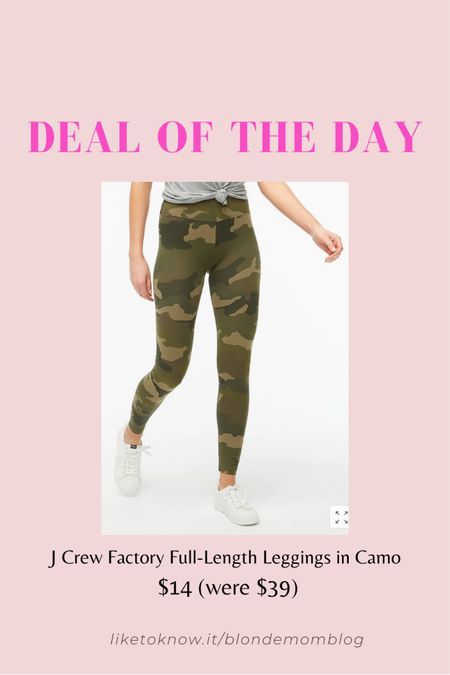 My fave J Crew Factory camo leggings are on sale! I wear these all the time.   #leggings #jcrew #jcrewfactory #camo #camoflauge #workathome #athleisure #fashionafter40 #camoleggings
