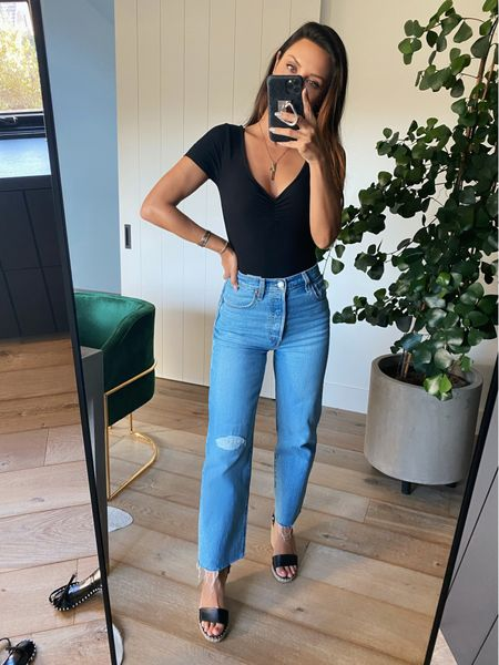 The basics! Obsessed w this body and these budget friendly jeans that both for like a glove!  #LTKsalealert #LTKunder100 #LTKunder50