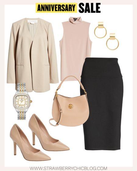 Workwear look with this collarless blazer and black pencil skirt.   #LTKsalealert #LTKworkwear