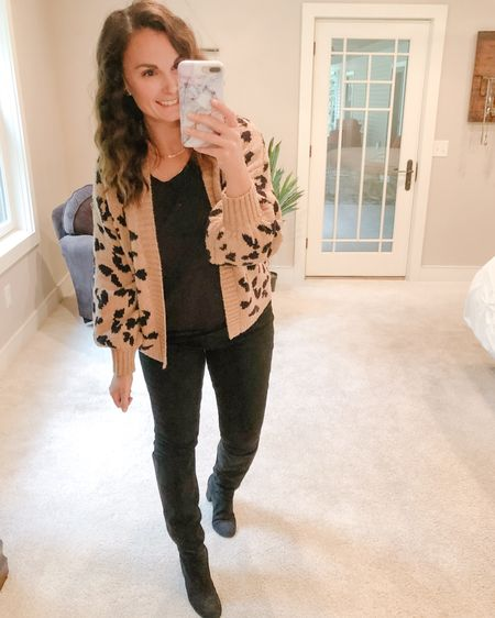 Last night's OOTN which ended up being way too warm for a night that wasn't as cool as I thought it was going to be. 🤷🏻♀️ I love the black on black on black look with a bold pop like this leopard sweater. These tall black boots get a lot of wear with leggings for me throughout the school year, just a way to dress them up a little.   #liketkit http://liketk.it/2WtRX @liketoknow.it