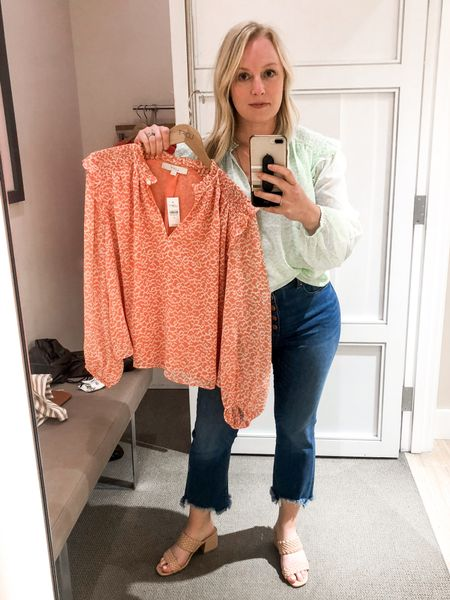 I love the subtle leopard print on these. I thought the coral was going to be #hocspring but it's more muted so not 100% on it. Went with the green instead. 40% off the tops and jeans.   #LTKsalealert