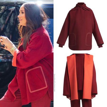 Meghan wearing Loro Piana #coat #fall #burgundy #outfit   #LTKworkwear #LTKstyletip