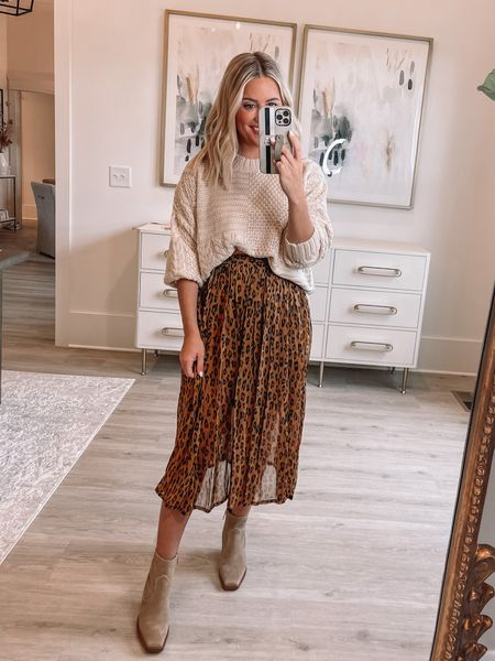 Wearing small in sweater (Alexa20 for discount) // xs in skirt (old) // boots tts // fall outfit // bump friendly //   #LTKshoecrush #LTKunder50 #LTKstyletip
