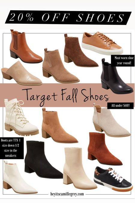 20% off Target Shoes for the Family I get my true size in all the boots, I size down 1/2 size in the sneakers  Love these mules, ankle boots, Chelsea boots, combat boots, sneakers  These are all perfect for fall and could work towards end of summer as well!   #LTKshoecrush #LTKunder50 #LTKsalealert