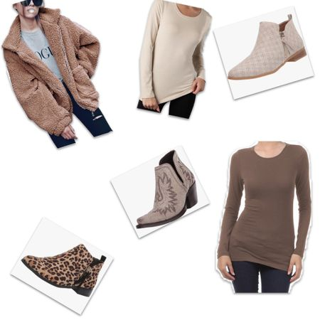 Longs sleeve women's tops and booties with soft furry jackets. 💕  To shop these products...   🧥 Follow me on the LIKEtoKNOW.it/sweet.p.and.sky (link in bio)  🧥 Shop your screenshot of these pics with the LIKEtoKNOW.it shopping app  🧥 Use this link http://liketk.it/36bZR    #liketkit @liketoknow.it #LTKSeasonal #LTKstyletip #LTKunder50