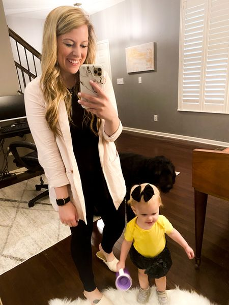 This Old Navy linen blazer and Target mules are my go-to comfy work from home days. Kennedy's outfit is all from Amazon! Click to shop.   #LTKbaby #LTKSale #LTKstyletip