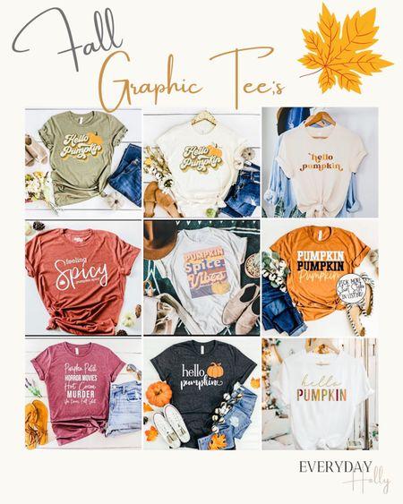 Fall graphic tees from Etsy • Etsy fall • Fall vibes • casual fall tees Graphic tees • thanksgiving tees      #LTKSeasonal #LTKHoliday #LTKstyletip