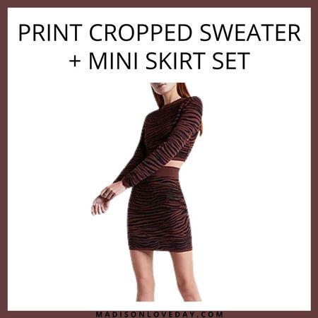 Print Cropped Sweater + Mini Skirt Set   express, fall outfits     #LTKSeasonal #LTKsalealert #LTKunder100