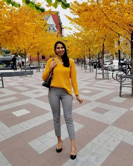 Mustard sweater with gingham dress pants - matching with the fall colours!! Screenshot or 'like' this pic to shop the product details from the LIKEtoKNOW.it app, available now from the App Store!   http://liketk.it/2ydd0 @liketoknow.it #liketkit #LTKsalealert #LTKstyletip #LTKunder50 #LTKunder100