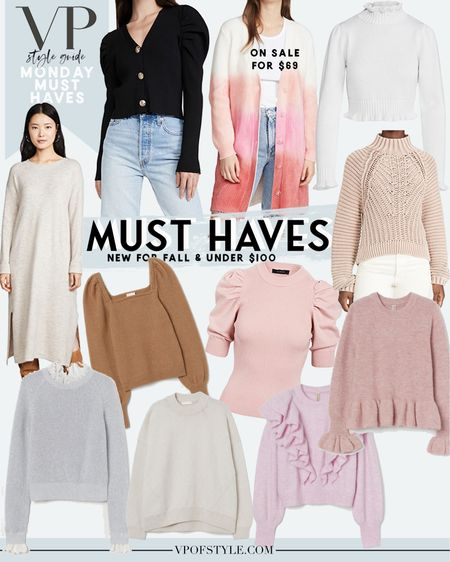 Monday must haves new blog series featuring all of my wants for the new season all under $100. These sweaters are all under $100 and have the cutest details that make them far from basic. I love the ruffled sweaters and the puff sleeves on the black sweater cardigan http://liketk.it/2Vapm #liketkit @liketoknow.it #LTKunder100 #LTKunder50 #LTKstyletip