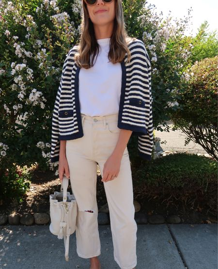 Summer to fall style in a white tee and easy cardigan layer. Also love these under $70 cream-toned jeans. 🤍  #LTKsalealert #LTKSeasonal #LTKunder100