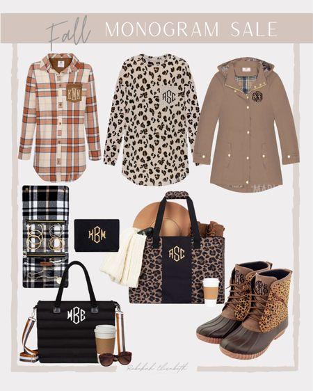 Fall plus size monogram sale 🍁🍂 plaid shirt • leopard tunic • rain jacket • duck boots • tote • monogram // #rebekahelizstyle  #LTKstyletip #LTKunder50 #LTKsalealert