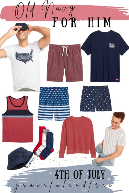 4th of July favorites for him. Men's 4th of July finds. Old Navy. Men's holiday weekend. Men's tank, American shirts, socks, men's bucket hat, men's swim trunks.   #LTKmens #LTKunder50 #LTKSeasonal
