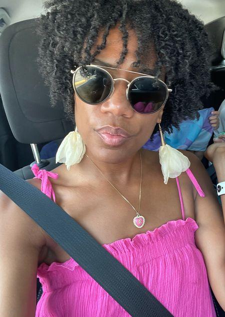 Rayban sunnies + Floral earrings + Chanel necklace   #LTKstyletip #LTKbeauty #LTKunder100