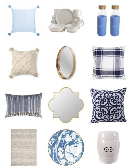 Walmart home decor picks pillows mirrors dishes blue and white coastal decor   #LTKhome #LTKunder50 #LTKstyletip