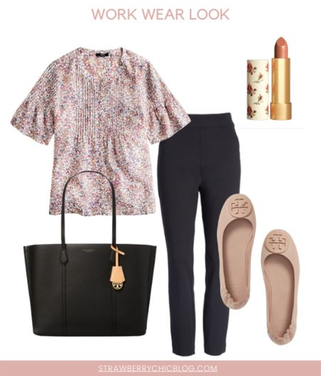This floral print blouse is such a great fall work wear staple that you can wear now! Air with black pants and my favorite Tory Burch work flats.   #LTKshoecrush #LTKstyletip #LTKworkwear