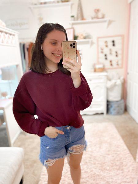 Simple outfit idea! All true to size. #amazonfashion #sweatshirts #amazonfinds #shorts #outfitinspo   #LTKstyletip #LTKunder50 #LTKSeasonal