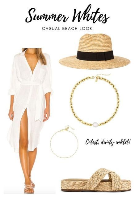 Another all white outfit but more ~casual~ perfect for a beach trip that you might have coming up 🏝 have been loving wearing anklets this summer #throwback 😂😅 and this straw hat is PERFECT for any summer look!   #LTKSeasonal #LTKstyletip   #LTKwedding