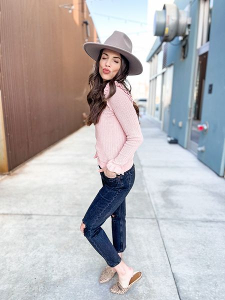 Spring Outfit | spring fashion | Straight Leg Jeans | Abercrombie & Fitch | Gigi Pip Hat | wide brim hat | Free People | Target Finds | slides | mules | flats #LTKwomens #LTKfashion #LTKstyle   Shop my daily looks by following me on the LIKEtoKNOW.it shopping app.   #LTKSeasonal #LTKstyletip #LTKunder100