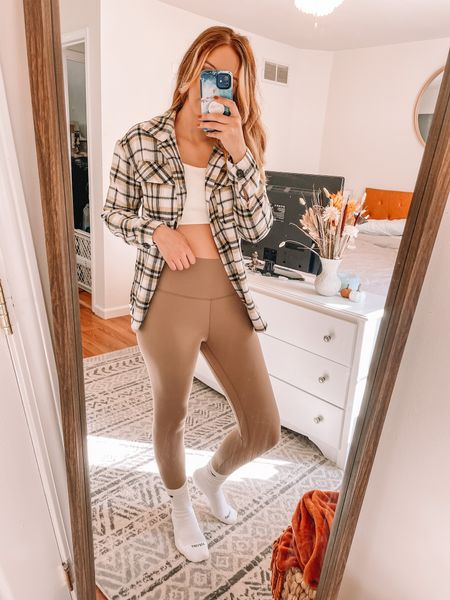 Love this affordable shacket (shirt jacket) from Walmart. I got this in store and couldn't find the exact one on their website so I linked similar. Mine is a size small. The top is from this two piece ribbed set from Amazon. Tan leggings are from amazon. White tall athletic socks are Nike. This is the perfect athleisure fit for fall time🍂♥️🍂  #LTKunder50 #LTKstyletip #LTKfit