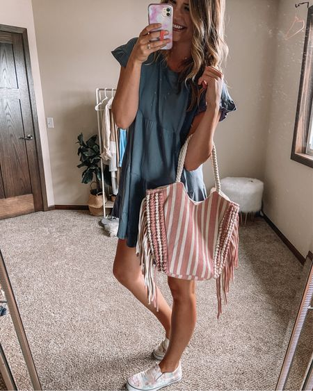 $14 gray babydoll short sleeve dress / $11 pink and white striped canvas tote bag / $15 tie dye sneakers Large dress 11 sneakers