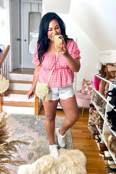 Spring summer outfit from amazon & Walmart   Top - $7 (XXL) Shorts - $24 (size up, 14) Shoes - $69 (size down 1/2 size) Purse - $14   #liketkit http://liketk.it/3gCCR     @liketoknow.it #LTKunder50 #LTKstyletip #LTKcurves    affordable fashion, outfit ideas, summer outfit idea, spring outfit idea, white Jean, summer outfit idea, summer outfit, white shorts outfit, beach vacation, plus size, size 12, size 14, midsize, mid size, amazon fashion, amazon finds, smock short, gingham, pink gingham, straw purse, loft, Walmart, Walmart fashion