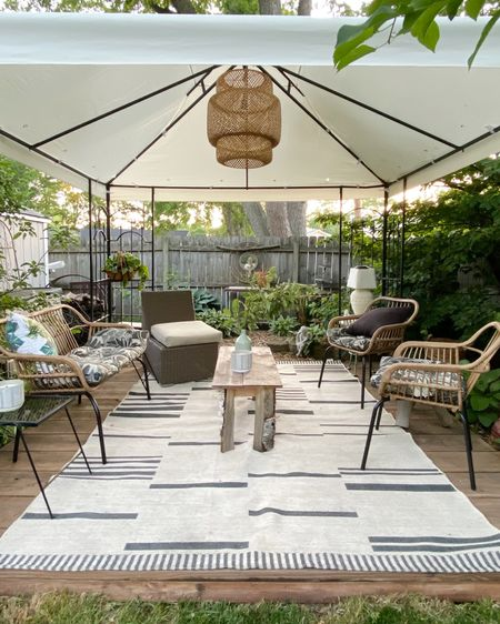 Even though we still have to drag missing cushions up from the crawl space, it was nice to get most of our outdoor gazebo area together, and enjoy the nice weather. This is one of my favorite places to sit and read all summer, and it's nice to be able to finally use it !    @liketoknow.it http://liketk.it/3hei8 #liketkit @liketoknow.it.home #LTKhome #LTKDay #LTKfamily Screenshot this pic to get shoppable product details with the LIKEtoKNOW.it shopping app