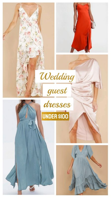 Wedding guest dresses under $100. A variety of dresses for cocktail to black tie optional dress codes. Floral satin dress, flowy halter maxi dress, one shoulder satin dress, beach dress. All under $100. http://liketk.it/3h8mQ @liketoknow.it #liketkit #LTKstyletip #LTKunder100 #LTKwedding