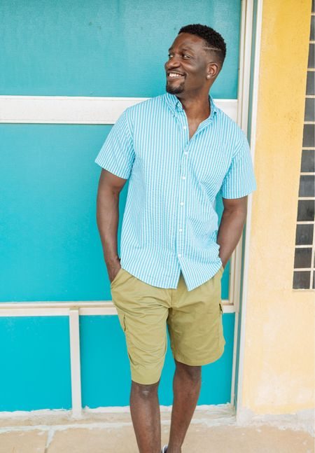 Father's Day outfit for dad! striped button down shirt and olive green shorts. Vacation outfit for men.   #LTKunder50 #LTKtravel #LTKmens