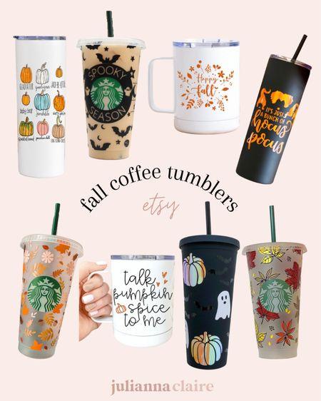 Fall coffee tumblers from Etsy   #LTKhome #LTKunder50 #LTKSeasonal