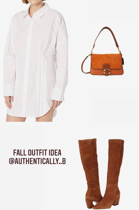 Fall outfit ideas! Brown knee boots, white shirt dress and a Tabby coach bag for an easy neutral look!   #LTKworkwear #LTKstyletip #LTKHoliday