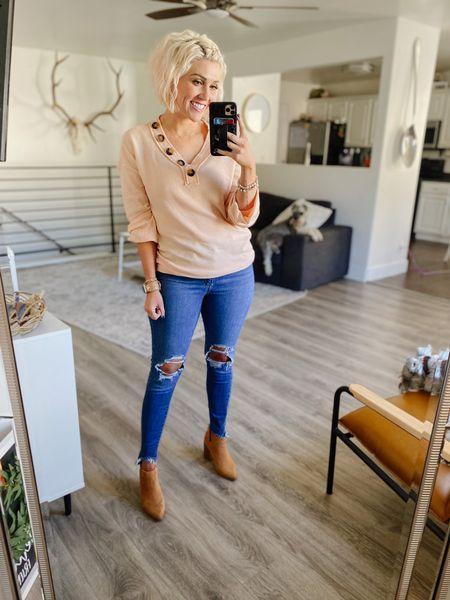 Amazon OOTD SMALL & Apricot in top 27 in jeans TTS BOOTS  #LTKstyletip #LTKunder50 #LTKshoecrush