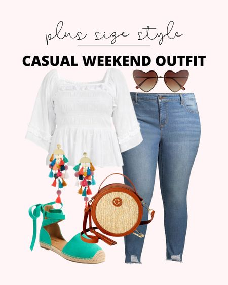 These plus size Sofia Vergara jeans are a best seller! They look so cute with this white eyelet peplum top! This is the perfect plus size spring outfit if you like a pop of color.   #LTKstyletip #LTKunder50 #LTKcurves