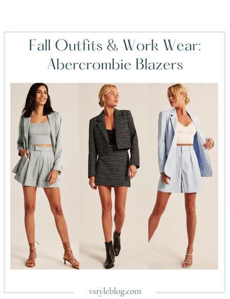 Fall outfits, Work wear, Teacher outfits, Fall family photos, Blazer, Green blazer, Cropped blazer, Blazer skirt set, Blue blazer, Blazer shorts set, Sale alert, LTK Day Sale  Abercrombie  Single-Breasted Blazer in Light Green (was $120, now $79.99) Cropped Blazer (was $99, now $59.99) Tweed Mini Skirt (was $55, now $34.99) Single-Breasted Blazer Light Blue (was $120, now $79.99) Tailored Shorts in Light Blue (was $55, now $34.99)  #LTKsalealert #LTKworkwear #LTKSale