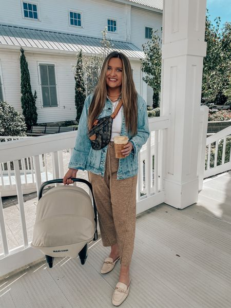 the baby carrier has become my new go-to accessory🤍 all here for the mom on-the-go look especially these elastic waistband pants & denim jacket from @petalandpup 🙌🏼 so cozy & easy to style! 🍂 outfit deets in bio 📱  spent today getting some work done in between huddys naps (they are starting to get more in sync throughout the day finally!) & reorganizing his room👶🏼 little man is growing so fast and can no longer fit in any of his newborn clothing! it's crazy how much you can look back at photos & see how much has changed throughout the last few weeks! #petalandpup      #LTKsalealert #LTKunder100 #LTKbaby
