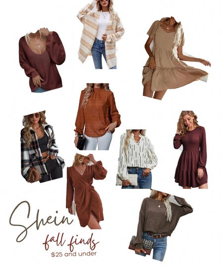Fall colors, fall sweaters, fall blouses, fall workwear, rust colored blouse, plaid fall shacket, shein fall, shein finds, under $25      #LTKunder50 #LTKHoliday #LTKSeasonal