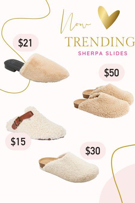 Sherpa clogs slides faux fur target Walmart   #LTKSeasonal #LTKshoecrush #LTKunder50