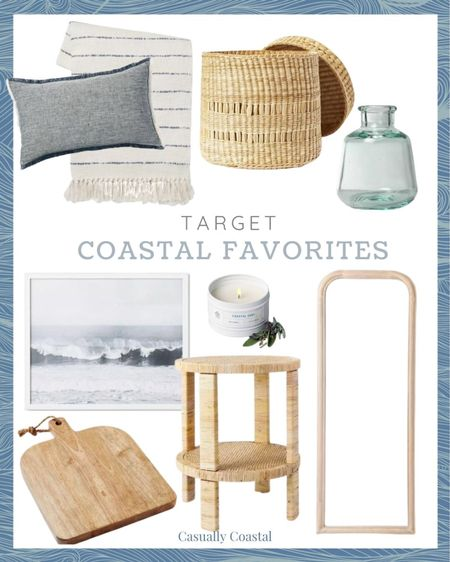 Target is one of my favorite places to shop for affordable home decor and they have some amazing coastal pieces right now! I'll be sharing another round-up soon as I have so many great finds! - Hostess gifts, summer decor, summer decorations, summer home decorations, coastal decor, beach house decor, beach decor, beachy decor, beach style, coastal home, coastal home decor, coastal interiors, coastal family room, living room decor, living room accessories, coastal decorating, decorative accents, coastal house decor, home accessories decor, coastal accessories, neutral decor, neutral home, blue and white home, blue and white decor, summer accessories, entryway table decor, coffee table decor, gifts gifts for her, coastal living room decor, couch pillows, blue and white pillows, blue & white pillows, throw pillows couch, 14x20 throw pillows, lumbar pillows, lumbar throw pillow, lumbar pillows for chair, lumbar pillows for bedroom, coastal throw pillows, coastal pillows, 20x20 pillows, 24x24 pillows, throw pillows with fringe, affordable throw pillows, target pillows,  fringed throw blanket, summer throw blanket, cream throw blanket, striped throw blanket, decor under 50, home decor under $50, target home, target decor, target finds, basket with lid, basket with top, basket with cover, handwoven baskets, woven baskets with lid, woven basket storage, textured decor, wood cutting board, kitchen accessories and decor, kitchen accents, coastal kitchen decor, target artwork, target home, coastal artwork, beach artwork, wall decor living room, artwork for home, affordable art, coastal farmhouse decor, cane, seagrass, rattan, bedroom inspiration, coastal bedroom, coastal living room, neutral living room, side tables, wicker tables, living room side tables, bedroom tables side, bedroom side tables, hallway table, serena & lily dupe, serena and lily dupe, full length mirror, large floor mirror, arched floor mirror, mirror for bedroom, bud vase, recycled glass bud vase, recycled 