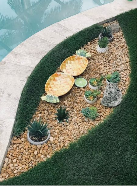 Decorate the side of your pool like a fiesta! Shop the look!  Follow my shop on the @shop.LTK app to shop this post and get my exclusive app-only content! We used rocks from Home Depot & cute coasters, faux plants and dinnerware from Homegoods and TJMaxx  #liketkit #LTKstyletip #LTKunder100 #LTKhome  #LTKhome #LTKstyletip #LTKunder100