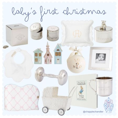 Baby's First Christmas Gifts Ornament personalized monogrammed blanket bib baby toddler gifts silver engraved frame tooth fairy box frame bank Christmas village Hanukkah gift Peter rabbit book keepsake pillow scalloped baby pillow stroller parm baby doll rattle   #LTKGiftGuide #LTKbaby #LTKHoliday