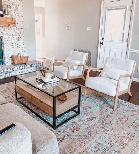 mid century modern home. home decor. pampas grass. arm chair. wooden arm chair. coffee table. coffee table book.  #LTKSeasonal #LTKsalealert #LTKhome