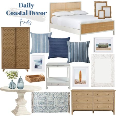 Today's daily coastal decor finds include lots of rattan, blue and white!    http://liketk.it/3jOWC #liketkit @liketoknow.it @liketoknow.it.home #LTKhome #LTKsalealert #LTKunder100 white bed frame, rattan bed frame, blue throw pillows, white dining table, wood dresser, blue rug, wicker frames, white mirror, coastal artwork