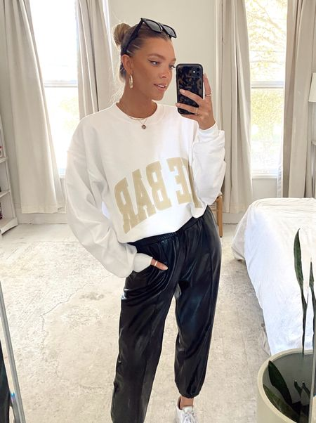 casual neutral fall outfit, sweatshirt and leather joggers style, weekend street style fashion   #LTKSeasonal #LTKHoliday #LTKstyletip