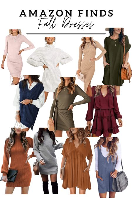 Fall dresses from amazon! So many cute amazon finds! Rounded up my favorite sweater dresses, sweatshirt dresses, long sleeve dresses, all so perfect for fall!  #LTKstyletip #LTKworkwear #LTKunder50